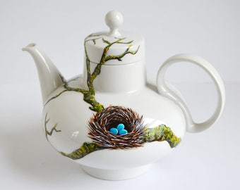 Birds Nest Teapot - Hand Painted Teapot, Bluebird Nest, Bluebird Eggs, Birdsnest, Mother's Day Gift Mothers Day, Eggs in a nest Gift for Her