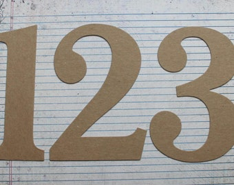 6 inch tall NUMBERS bare chipboard diecuts great for wedding table numbers [choose quantity, plain or sticker back]