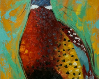 Pheasant painting 21 12x16 inch original oil painting by Roz