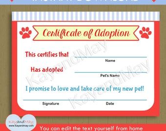 Cat certificate etsy pet theme printable adoption certificate instant download pet adoption puppy kitten cat dog paw print yadclub Gallery