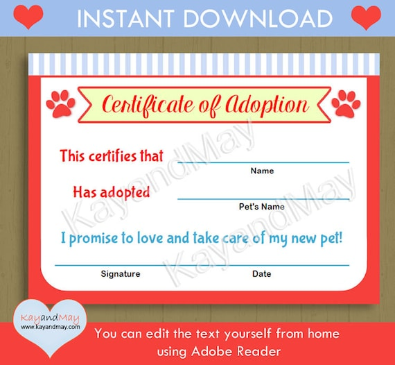 Pet theme printable adoption certificate instant download pet pet theme printable adoption certificate instant download pet adoption puppy kitten cat dog paw print p 24 you can edit text from home from kayandmay yadclub Images