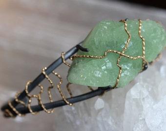 Prehnite Druzy Gold Wrapped Cuff Bracelet