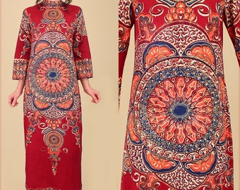 Dashiki Maxi Dress ViNtAgE 60's 70's Psychedelic MANDALA Ornate Cotton Ethnic Hippie Gypsy Festival M/L Medium Large