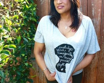 "Pride and Prejudice Shirt ""Indulge your imagination..."" Jane Austen Silhouette, Women's Slouchy V-neck Tee- MADE TO ORDER"