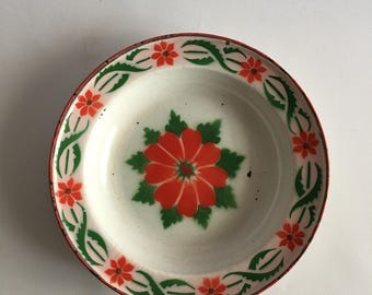 Red and Green Vintage Enamel Bowl Stenciled Enamelware Bowl from Belgium Red Poppy Tulip