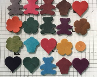 Leather Shapes for Crafting - many colours - random assortment