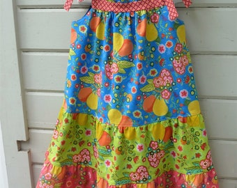 Tradewinds Summer Tiered Dress for Girls Ready to Ship in size 8 or by special order in sizes 2 through 7.
