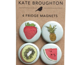 Fruit fridge magnets (set of four) watermelon , pineapple , strawberry , kiwi - illustrated kitchen home gift