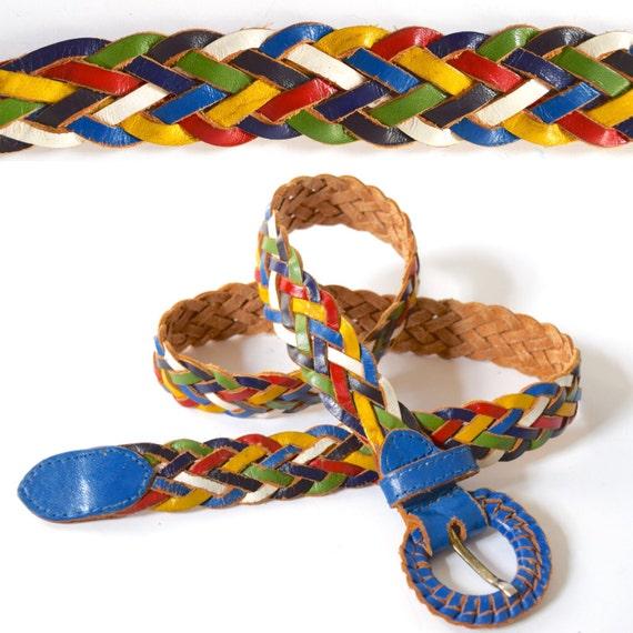 Vintage 70s 80s Rainbow Braided Leather Belt