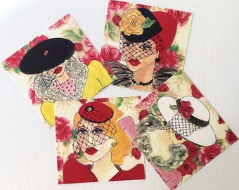 new...LADIES IN HATS cards, rose background, hats with veils, 5 in  X  5 in, envelopes included, jewels, gift for her, greeting cards, blank