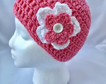 Pink Girl's Beanie Crocheted Spring Pink Flower Beanie Girl's Beanie Pink Beanie Pink Flower Hat