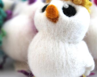 Yellow Hairy Bird Needle Felted White One of A Kind Bird Donald