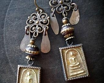 Kuchi Earrings, Banjara, Buddha, Amulet, Prayer Beads, Brass, Flowers, Vintage, Unique, Organic, Primitive, Recycled, Beaded Earrings