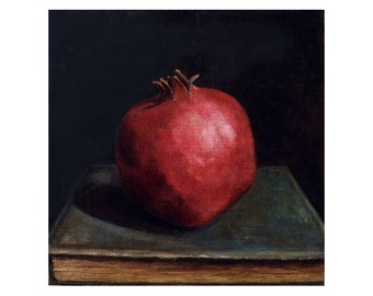Pomegranate Painting Print - Rembrandt style - 8x8 inch - Kitchen Art
