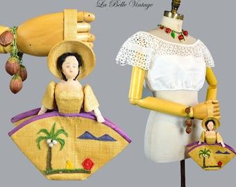 40s Doll Novelty Purse Vintage Raffia Handle Bag Matching Bracelet