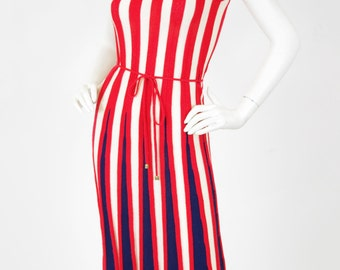 1970's Vintage Striped Red White and Blue Knit Sweater Sleeveless Midi Dress Sz XS
