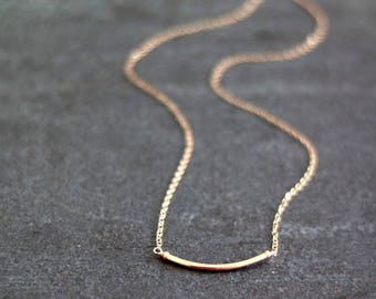 Minimalist 14K rosegold filled necklace, curved bar necklace, dainty jewelry VitrineDesigns Layering necklace
