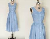 Vintage Blue Calico Dress --- 1980s Dress