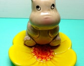 Vintage Cute Hippo on Flower Tea Bag Holder, Estate Sale