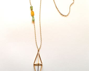 Long Gold Green Necklace / Long Gold Geometric Necklace Statement Necklace / Long Gold Necklace with Green Striped Jasper Gemstones