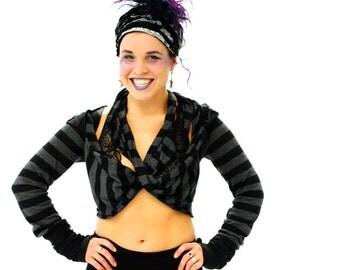 Hippie Top - Black Hoodie - Womens Wrap Top - Gypsy top - Hippie Hoodie - Boho Top - Boho Jacket - Festival Top - Womens Jacket -