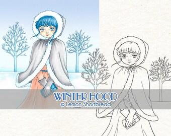 Digital Stamp Winter Girl Hood, Digi Download Snow Fashion, Christmas, Coloring Page, Clip Art, Scrapbooking Supplies