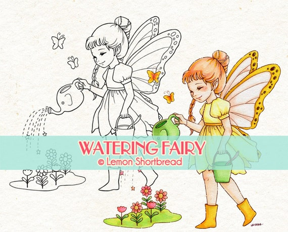 Digital Stamp Watering Flowers Fairy, Digi Fantasy Butterfly Floral, Clip Art, Scrapbooking Supplies, Card Making, Instant download