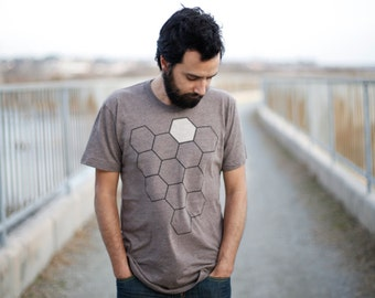The Beekeeper - Men's t shirt - gift for him - mens graphic tee - geometric honeycomb - beehive print on heather brown - nature lover shirt