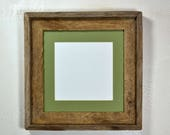 10 x 10 picture frame with mat for 8x8 from rustic reclaimed wood 20 mat colors to choose from free US shipping