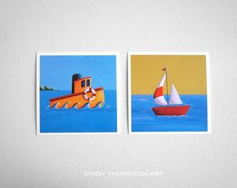 Seafarers Series Mini Print Set- 'Lil Tugboat' & 'Lil Sailboat' - Signed