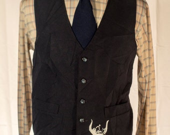 Men's Suit Vest / Vintage Navy Blue Waistcoat with Screen Printed/ Size    #4001