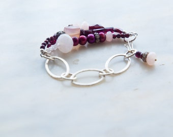 Beaded Bracelet Purple Chunky Bracelet Chain Link Amethyst Pearl Rhinestone Semiprecious Jewelry Gift for Her Gift for Women Gift for Wife