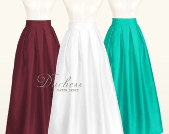 Duchess satin fully lined pleated long skirt with pockets - custom size, ankle, maxi, floor length, ball gown skirt in white, navy blue, red