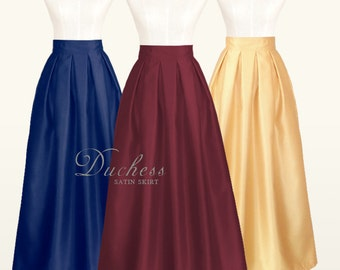 Duchess satin fully lined pleated long skirt with pockets - custom size, ankle, maxi, floor length, ball gown skirt in black, navy blue, red