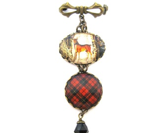 Scottish Tartan Jewelry - Ancient Romance Series - Wallace Clan Tartan Sweet Bow Brooch with Victorian Stag Deer Charm