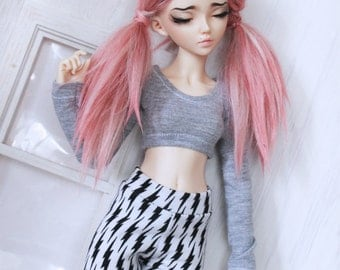 BJD Doll clothes MSD Doll clothes Heather Grey long sleeve Crop Top for Minfee MonstroDesigns Ready to Ship