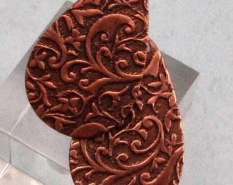 Floral Embossed Teardrop Boho Charm, Antique Copper, 2 pieces, AC171