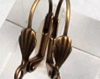 Nickel Free Lever Back Ear Wires With Shell, Antique Brass, Brass Ox, 12 Pieces,  AB110