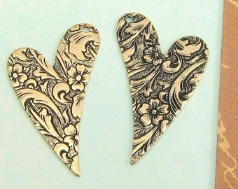 Antiqued Gold Embossed Hearts, Trinity Brass, 1 Pair AG13