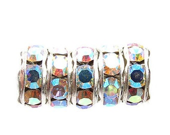 Silver, Crystal AB Rhinestone Rondelle, Extra Large Hole, 8 mm, 6 Pc. C421