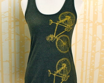 NEW Racerback Tank 10-Speed Bicycles hand printed in gold on 100% recycled poly/cotton, choose your size and color, made in USA