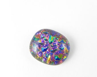Dichroic Fused Glass Cabochon - Colorful Prism - 1727 - 19mm x 16.5mm