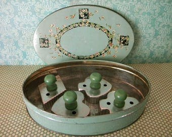 Vintage Jadeite Green Tindeco Tin with Cookie Cutter Set Card Suite Green Wooden Handles Heart Diamond Spade