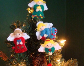 4 Felt Angel Ornaments