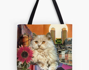 Tote Bag - Leo StarCat - zodiac astrological collage art for the cat lover