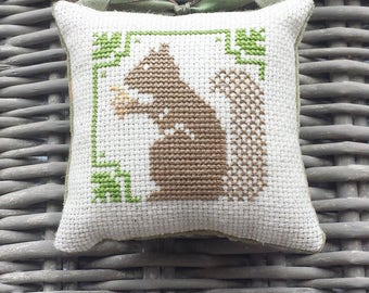 Brown Squirrel Pillow Ornament Pinkeep Doorknob Hanger Cross Stitch Rustic Primitive Folk Art Decoration Farmhouse  Fall Autumn Thanksgiving
