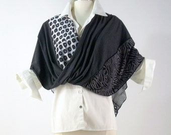 Mobius Wrap/ Patchwork Shawl/Boho Chic/ Mobius Scarf/ Knit Poncho/Charcoal Grey and Silver/Brenda Abdullah