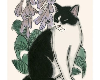 "Cat illustration cat print  Botanical Cat - 4"" X 6""  - 4 for 3 SALE"