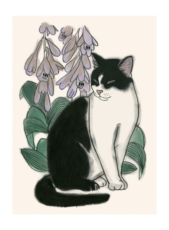 "Cat illustration cat print  Botanical Cat - 4"" X 6""  - 4 for 3 SALE"