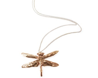 Damselfly Dragonfly Cast Necklace in Bronze